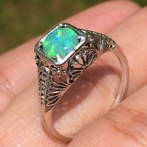 Green Opal 925 Sterling Silver Filigree Ring